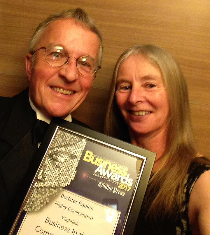 Bodster - Giles and Jo Boddington receiving the Wightlink Business in the Community Highly Commended Award 2017